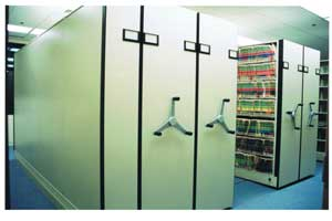 mechanical high density shelving system